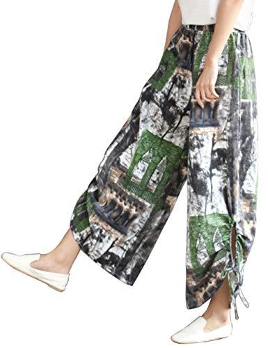 Zhhlinyuan Unisexe Harem Pantalon Lanterne Baggy en Vrac Pantalon - Coton Lin Taille Elastique t Confortable Trouser Vert Gris