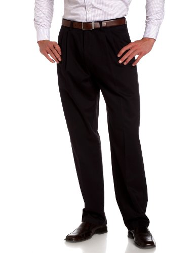 Savane Men's Pleated Wrinkle Free Twill Pant, Navy, 34W 29L