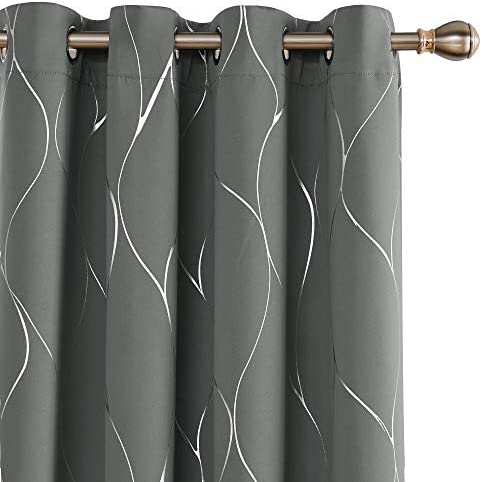 Deconovo Wave Printed Thermal Insulated Blackout Curtains Room Darkening Curtain Energy Efficient Panel Grommet Top Drapery Drapes