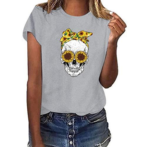 Women Plus Size Print Skull Short Sleeve Multicolor Loose T Shirt Blouse
