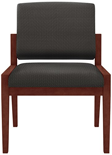Lesro Amherst Wood Armless Guest Chair in Mahogany Finish, Axis Noir (Axis Chair)