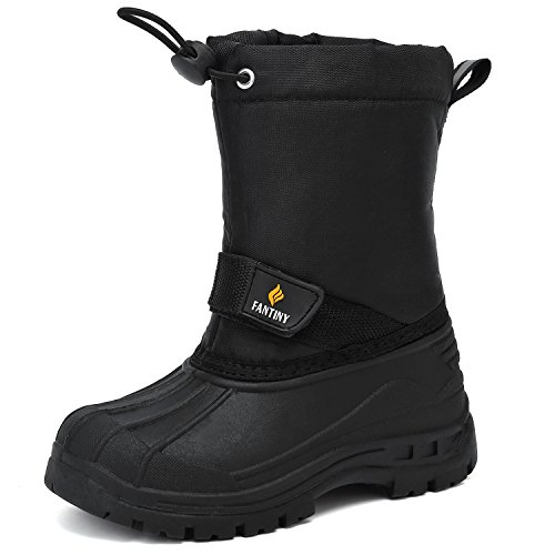 Outdoor Kids Boots (CIOR FANTINY Boy and Girls' Winter Snow Boots Outdoor Waterproof With Fur Lined(Toddler/Little Kid/Big Kid) Black-32)