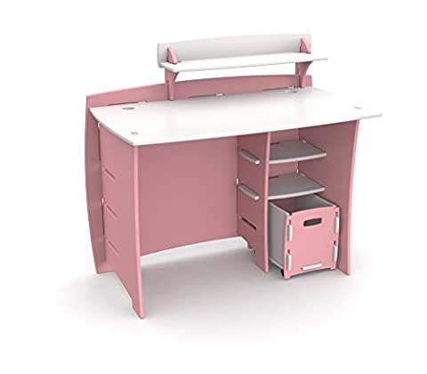 Legaré Kids Furniture Princess Series Collection, No Tools Assembly 43-Inch Complete Desk System with File Cart, Pink and White