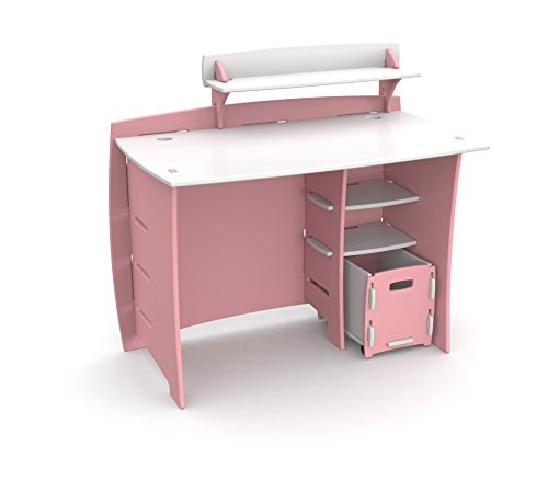 Legaré Kids Furniture Princess Series Collection, No Tools Assembly 43-Inch Complete Desk System with File Cart, Pink and White (Series Desk Set)