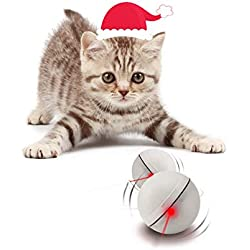 YOFUN Interactive Cat Toy 360 Degree Self Rotating Ball Automatic Light Toy for Pet, Batteries Included, Plus Extra Batteries, White