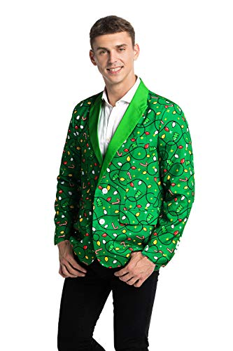 (U LOOK UGLY TODAY Men's Christmas Party Blazer Funny Xmas Party Suit Jacket with Santa)