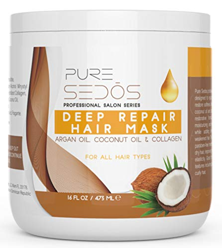 Argan Oil Hair Mask (16 Oz) High-End Salon 100% Organic, Deep Conditioner Hair Treatment Made with Argan Oil, Coconut Oil and Collagen - Repair Damaged, Brittle, Frizzy, Color Treated & Natural Hair