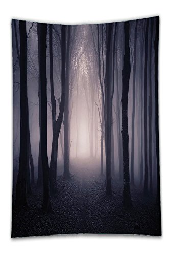 Beshowereb Fleece Throw Blanket Farm House Decor Path Through Dark Deep in Forest with Fog Halloween Creepy Twisted BranchePicture for Bedroom Living Room Dorm Pink and - Cleveland Ohio In Shopping