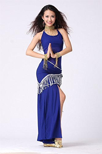 Danza del vientre Disfraz Set See-through Sling Top+Exotic Cotton Split Falda Dark Blue