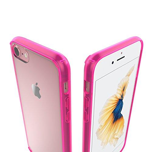 Luvvitt - Cubierta trasera transparente resistente a los arañazos para iPhone híbrida rosa transparente