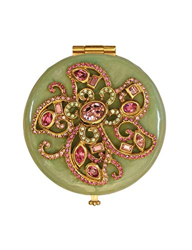 Jay Strongwater Elizabeth Rose Celadon Flower Jeweled Compact Make up Mirror with Swarovski Crystals