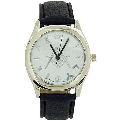 ite Dial Masonic Black Leatherette Strap Watch Boxx305 ()