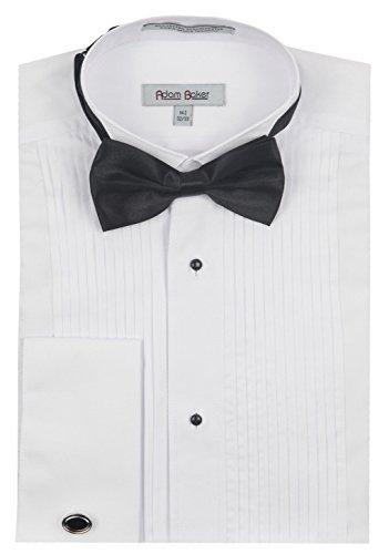 Adam Baker 1922 Men's Regular Fit Wingtip Collar French Cuff Tuxedo Shirt - White - 17 ()