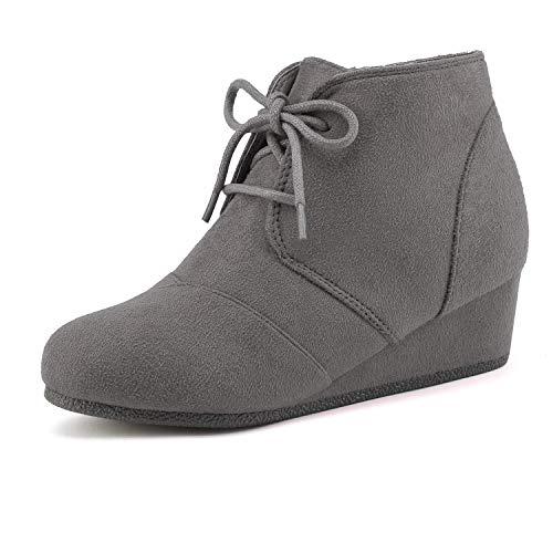 Kids Heel Shoes (DREAM PAIRS Big Kid Tomson-K Grey Girl's Low Wedge Heel Booties Shoes - 4 M US Big)