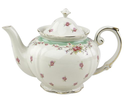 - Gracie China Vintage Green Rose Porcelain 5-Cup Teapot