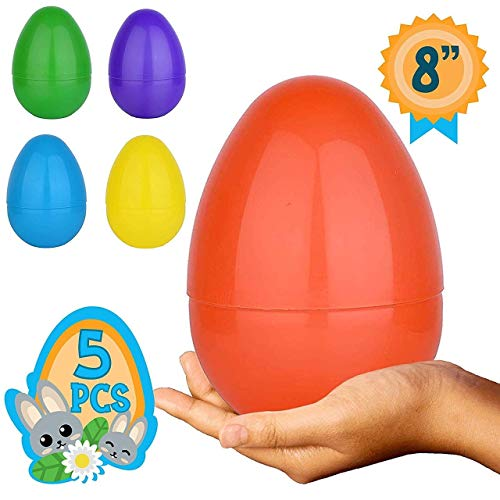 (None Totem World 5 Jumbo Fillable Plastic Easter Egg Hunt Party Supply - 8-Inch Easter Egg in Assorted)