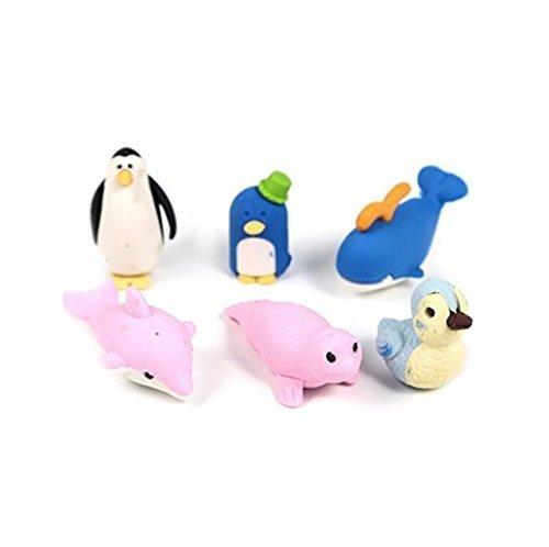 A-goo 6 pieceTier Radiergummi für Kinder - Pinguine & Seelöwen Motive
