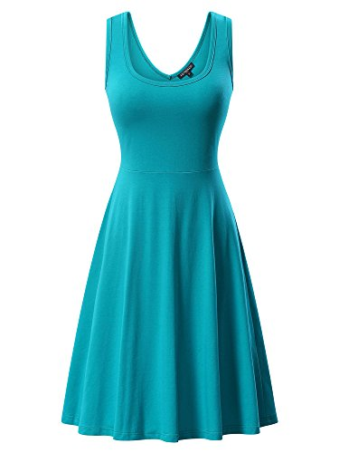 FENSACE Womens Sleeveless Scoop Neck Summer Beach Midi A Line Tank Dress, Blue-2, Medium