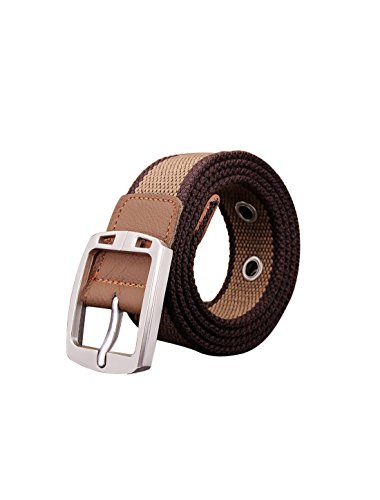 - uxcell Men Adjustable 9 Holes Metal Pin Buckle Casual Canvas Belt Width 1 3/8