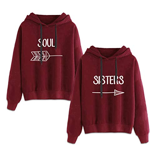 Best Friends Sweatshirts for 2 Girls Hoodies BFF Jumper Red Sister Gift 2 Pcs(Red,Soul-XL+Sisters-XL)