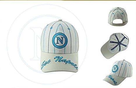 CAPPELLO CAPPELLINO SSC NAPOLI UFFICIALE BERRETTO CAP con VISIERA (BIANCO  visiera BEIGE) 6d0f5070fa60