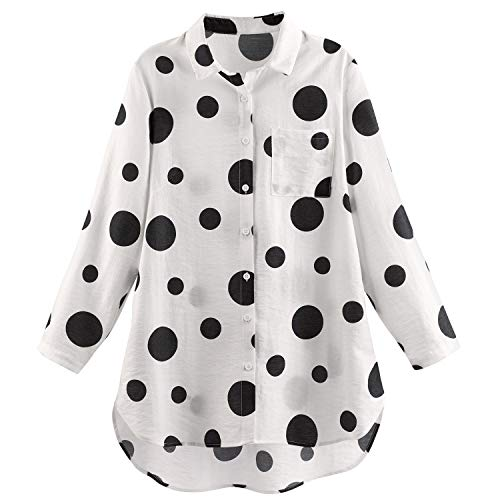 Helens Heart Women's Polka Dot Big Shirt - Black and White Button Up Tunic Top - 1X ()