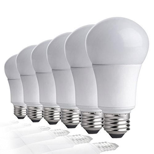 TCP 9W LED Faded Bulbs (60W Equivalent), A19 - E26, Medium Screw Base, Non-Dimmable, Daylight (5000K) (Pack of 6)