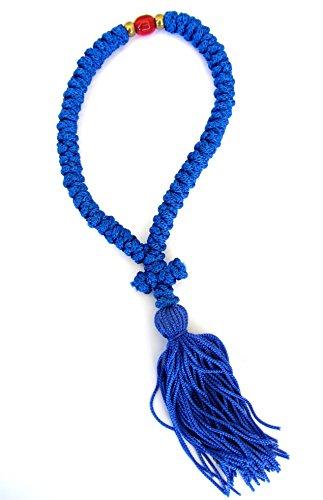 Handmade Blessed Christian Orthodox Greek Komboskoini Prayer Rope 50 Knots Blue - 5588 ()