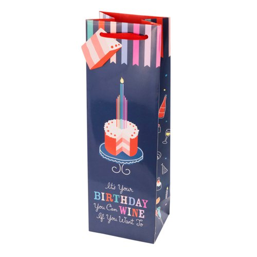 Cakewalk Birthday Cake Wine Gift Bag, Multi-colored (Send My Congratulations)