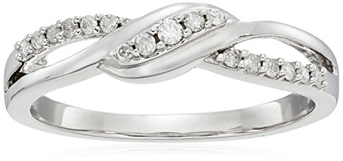 10k White Gold Diamond Ring (1/6 cttw, H-I Color, I1-I2 Clarity), Size 7 (White Gold Womens Diamond Rings)