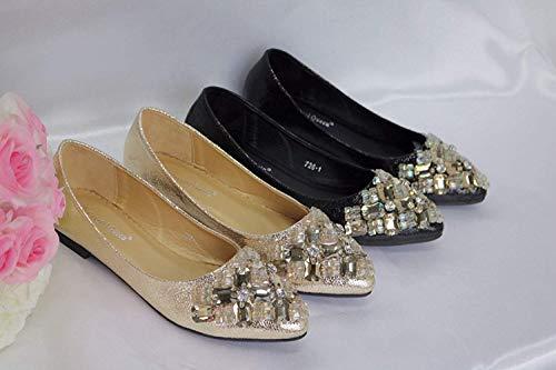 Gold Las color De Vestido Cordones Pisos Cómodos Sin Uk Mujeres Sintético Rhinestone 4 Tamaño Novia Black Hhgold flat flat EHwPqTxnE