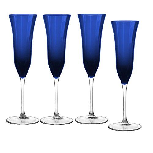 Qualia Glass Meridian Flute/Champagne, Clear/Blue, 4 Piece