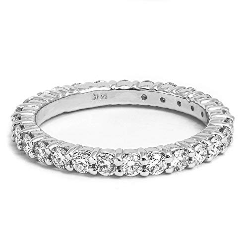 14kt White Gold 1/2 CT Shared-Prong Eternity Wedding Band
