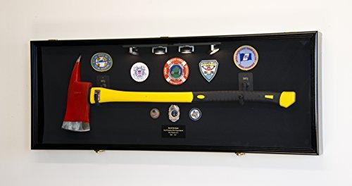 Firefighter Fireman Axe Display Case Cabinet Holder - 98% UV Lockable (Black Wood FInish, Black Background)