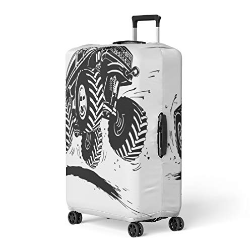 Pinbeam Luggage Cover Mud Cartoon Monster Truck Available Tyre Tire Car Travel Suitcase Cover Protector Baggage Case Fits 18-22 inches