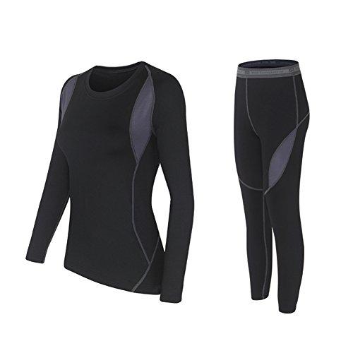 Wildconqueror Women Elastic Thermal Underwear Suit Warm Top & Bottom Black Size M