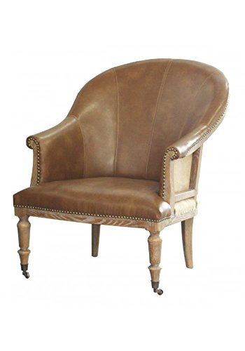 Amazon.com: Leather Tub Chair Classic with Brass Wheel Casters and ...