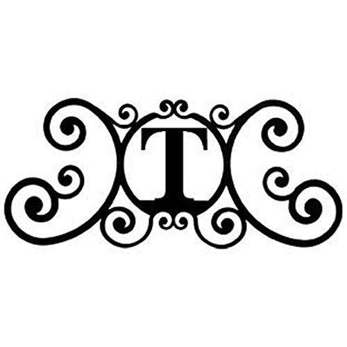 Letter - Wrought Iron Metal Scrolled Monogram Initial Letter Home Door Wall Hanging Art Decor Family Name Last Name Letter Sign (T, 24 x 11 inches,Thick 0.078 inch (2mm)) ()