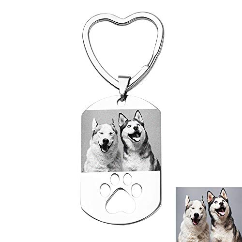 Personalized Pet Photo Key Chain - Pet Picture Engraved Custom Dog Tag Keychain with Hollow Out Footprint, Best Memorial Gift for Pet Lover