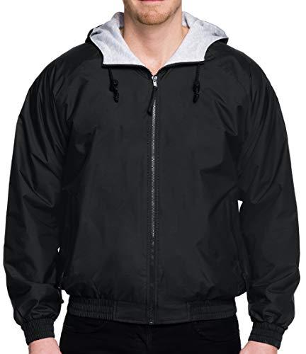 (Premium Quality Men's Tall Sizes 100% Toughlan Nylon Bay Watch Jacket - Black, 6XLT)