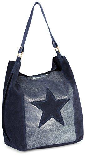 suède main moutarde à Marine pour étoile slouch 'Serene' LIATALIA Large épaule style motif porté Jaune à cabas Bleu sac femme en hobo italien q6nRStpRw4