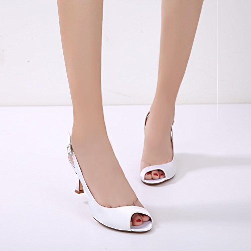 L@YC Zapatos de Boda Para Mujer ML17061-31 Damas Mid Low Party Prom Sandalias Zapatos/Zapatos de Boda Personalizados Red