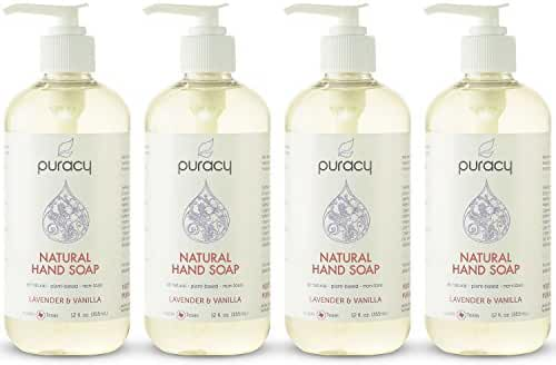 Puracy Natural Liquid Hand Soap, Sulfate-Free Hand Wash, Lavender and Vanilla, 12 Ounce Bottle, (Pack of 4)