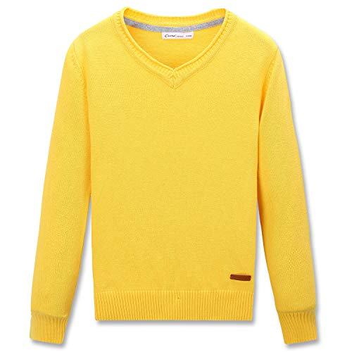CUNYI Little Boys V-Neck Pullover Cotton Knit Sweater, Gold Yellow, 140