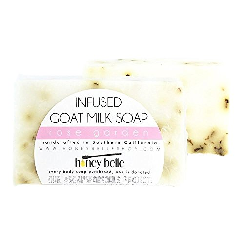 All Natural Rose Garden Body Cleansing Milk Soap Bar - For All Skin, Sensitive Treatment - By Honey Belle