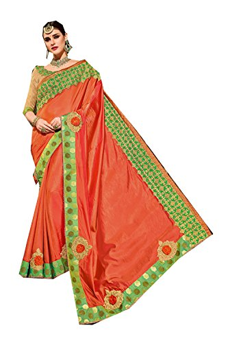 Da Facioun Indian Sarees For Women Wedding Designer Party Wear Traditional Orange Saree. by Da Facioun