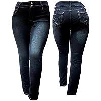 5ive Plus tamaño de la mujer Stretch Negro Cintura Alta Denim Jeans Pantalones Skinny Leg