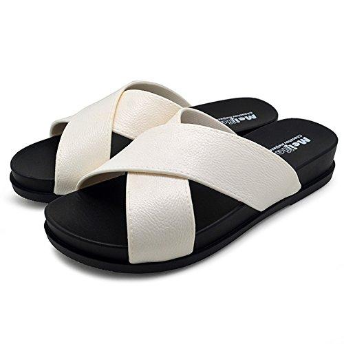 KENROLL Summer Soft Shower Slide Beach and Pool Flip Flop Slippers Non-Slip Shoes Sandals for Womens for Mens White bZcwL