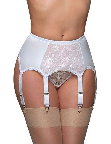 Nylon Dreams NDL8 Women's White Lace Garter Belt 6 Strap Suspender Belt -