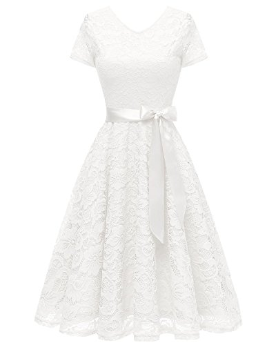 (Bridesmay Women V Neck Floral Lace Cocktail Party Bridesmaid Dress with Sleeves White)